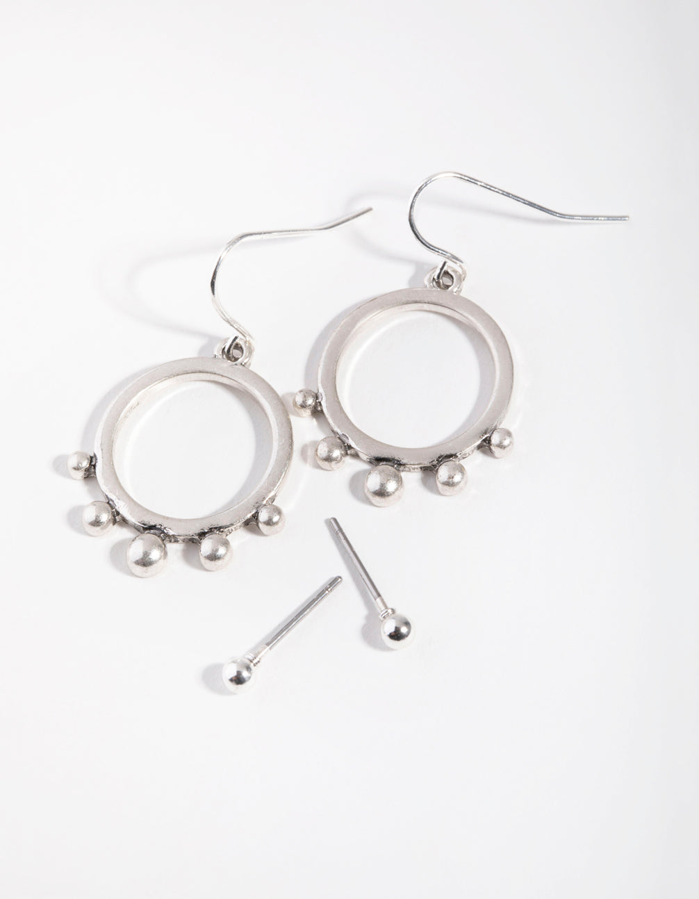Antique Silver Open Circle in Ball 2-Pack Earring