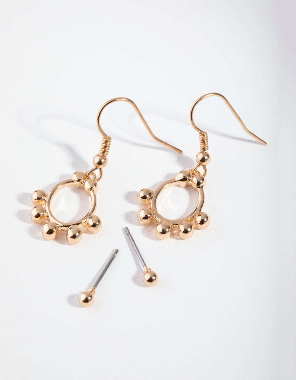 Gold Open Circle and Ball Two-Pack Earrings