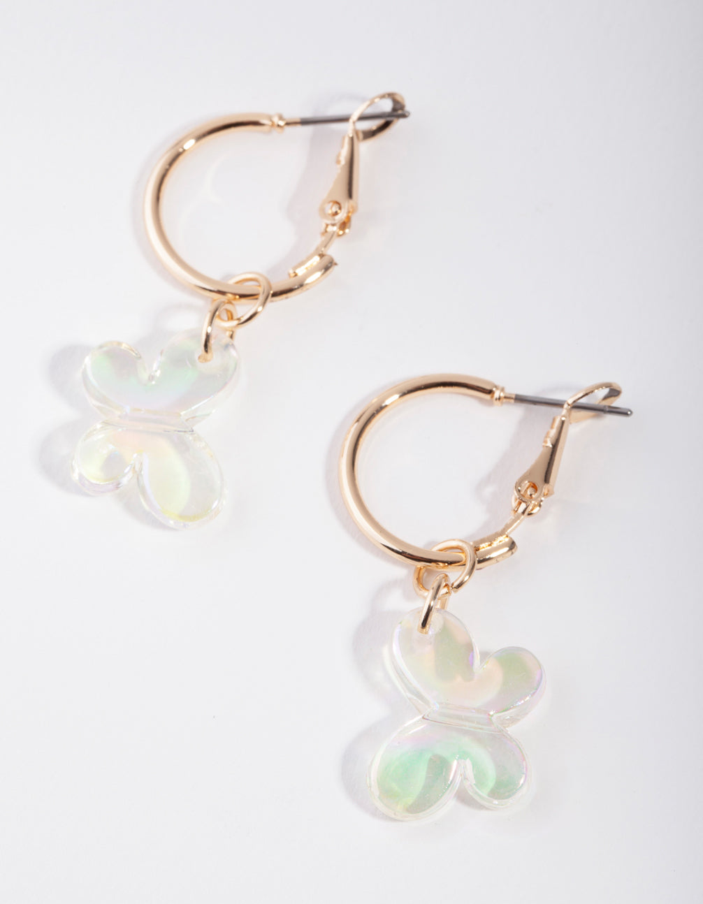 Gold Clear Butterfly Huggie Earrings