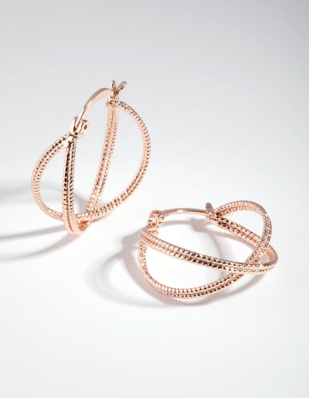 Rose Gold Stipple Double Hoop Earrings