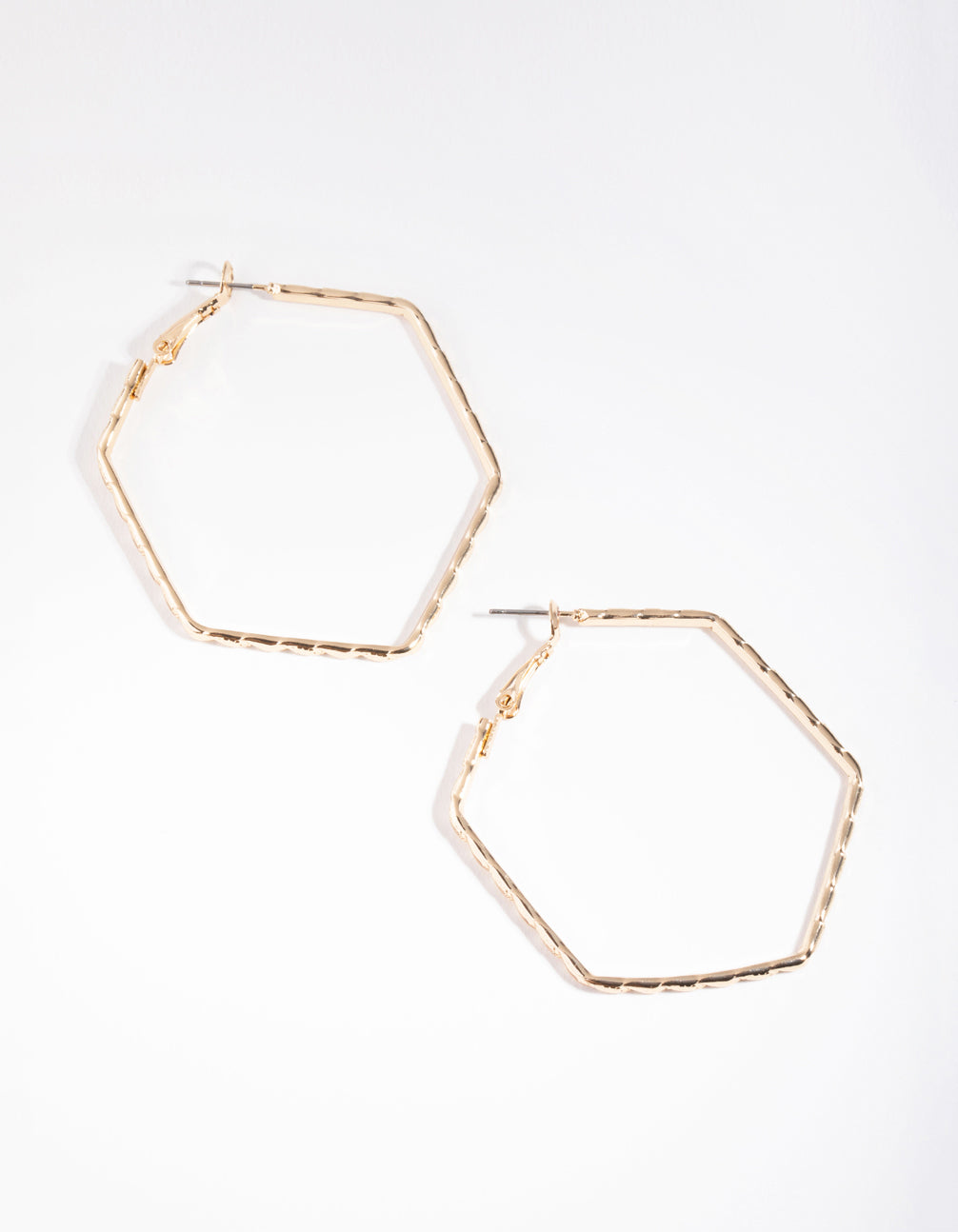 Gold Hexagon Hoop Earrings