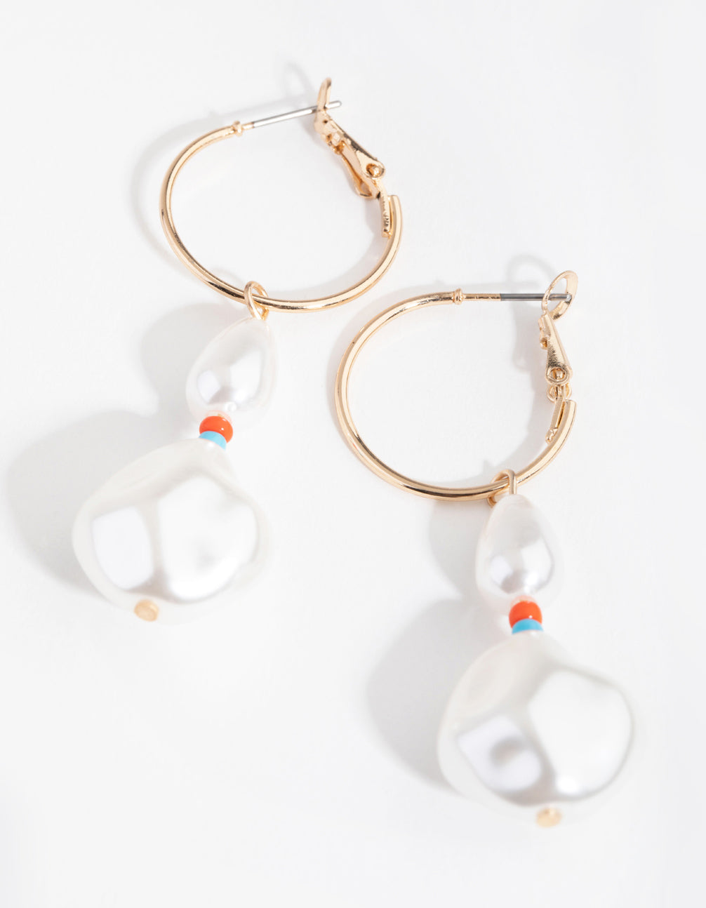 Gold Bead and Pearl Hoop Earrings