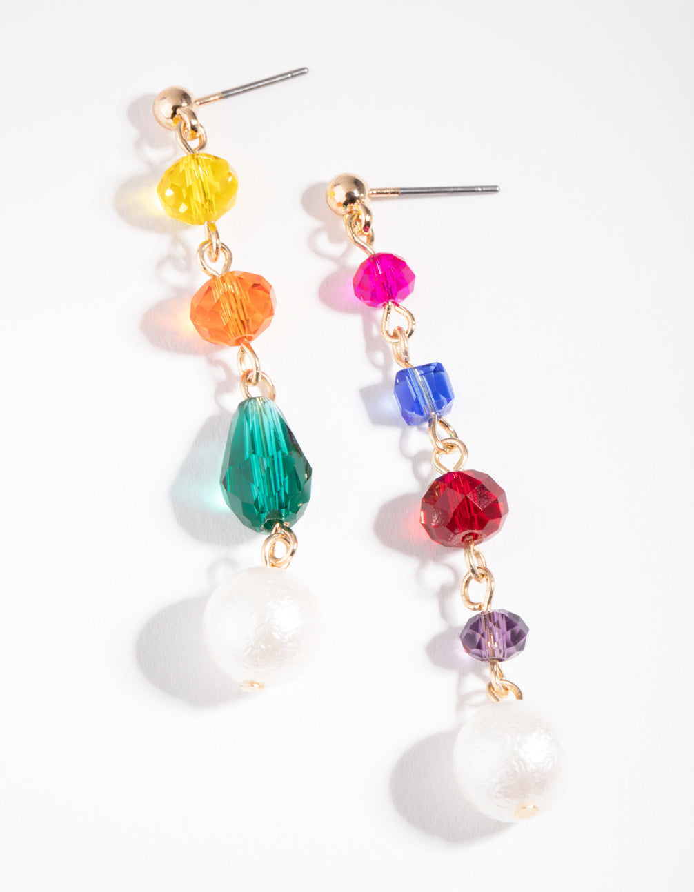 Gold Rainbow Bead Drop Earrings