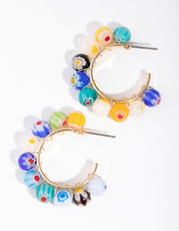 Gold Floral Glass Bead Hoop Earrings - link has visual effect only