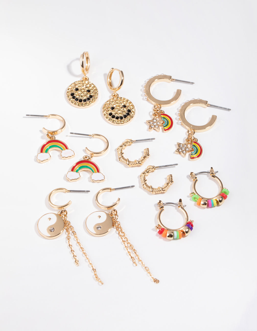 Gold Motifs 6-Pack Earring