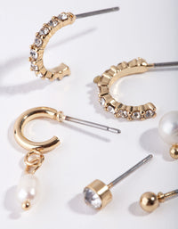 Gold Mix Pearl Drop 6-Pack Earring - link has visual effect only