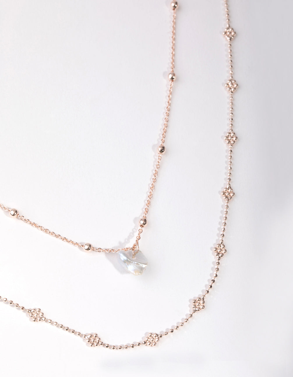 Rose Gold Plated Mini Flower Ball and Pearl Drop Necklace