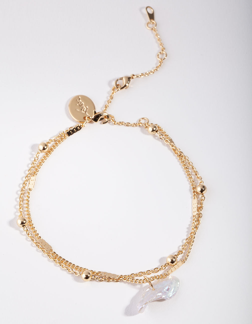 Real Gold Plated Ball and Pearl Drop Bracelet