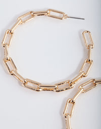 Gold Rectangle Wire Hoop Earrings - link has visual effect only