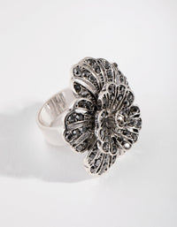 Antique Silver Diamante Flower Ring - link has visual effect only