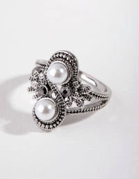 Black Antique Silver Pearly Flower RIng - link has visual effect only