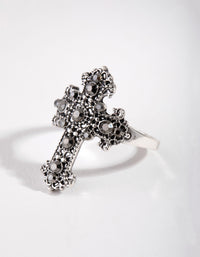 Antique Silver Antique Cross Ring - link has visual effect only