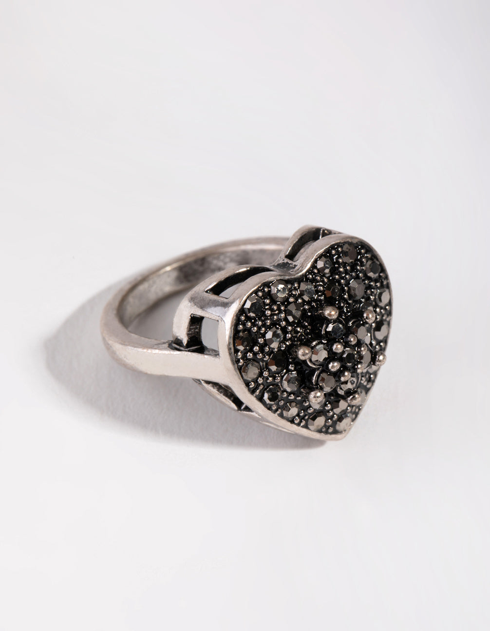 Antique Silver Diamante Heart Shield Ring