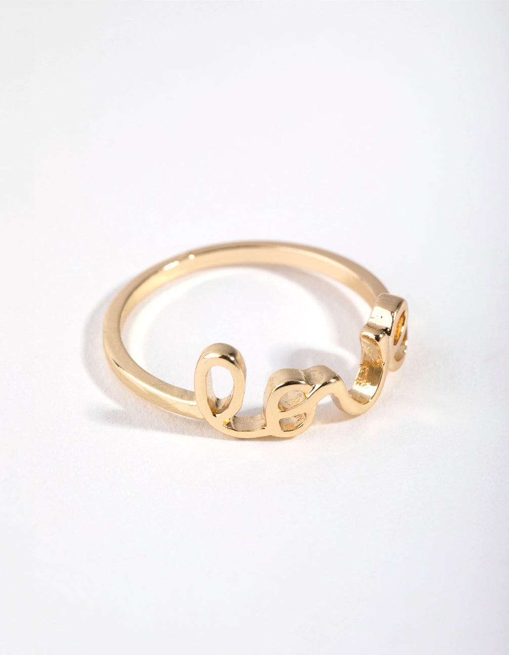 Gold Love Word Rings