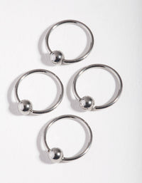 Surgical Steel Rhodium Large Ball 4-Pack Nose Stud - link has visual effect only