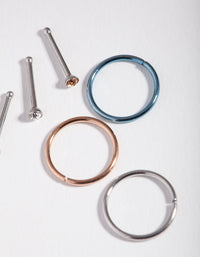 Mixed Metals Diamante 6-Pack Nose Rings - link has visual effect only