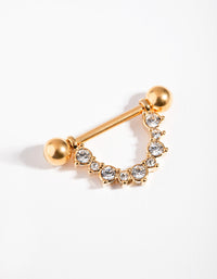 Gold Surgical Steel Curve Nipple Bar - link has visual effect only