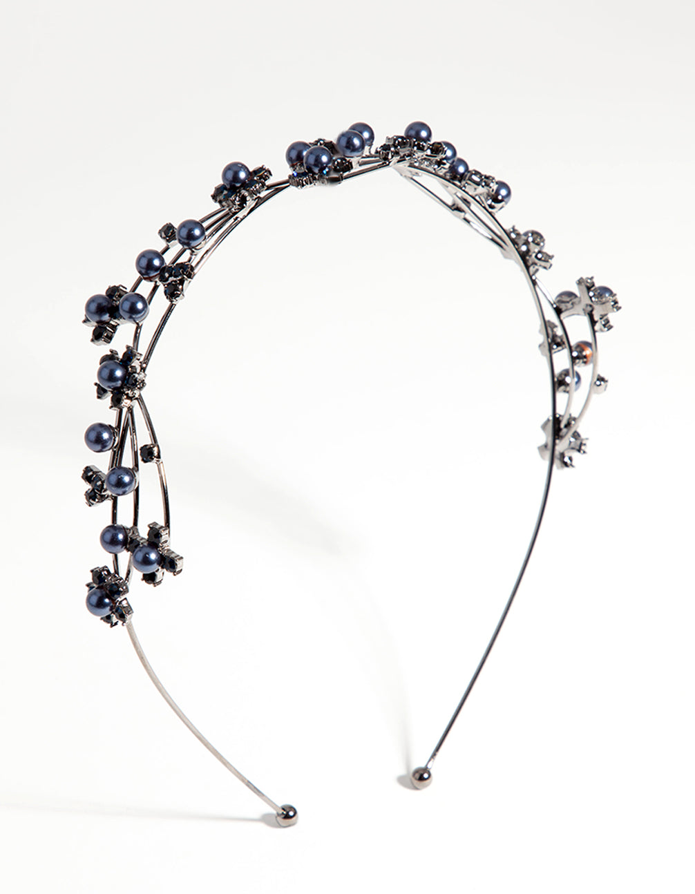 Gun Metal Wire Pearl Crystal Headband