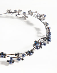 Gun Metal Wire Pearl Crystal Headband - link has visual effect only