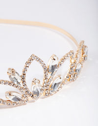 Gold Crystal Pearl Shape Crown Headband - link has visual effect only