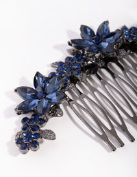 Gunmetal Simple Diamante Flower Comb - link has visual effect only
