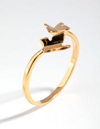 Yellow Gold Plated Open Butterfly Ring - link has visual effect only