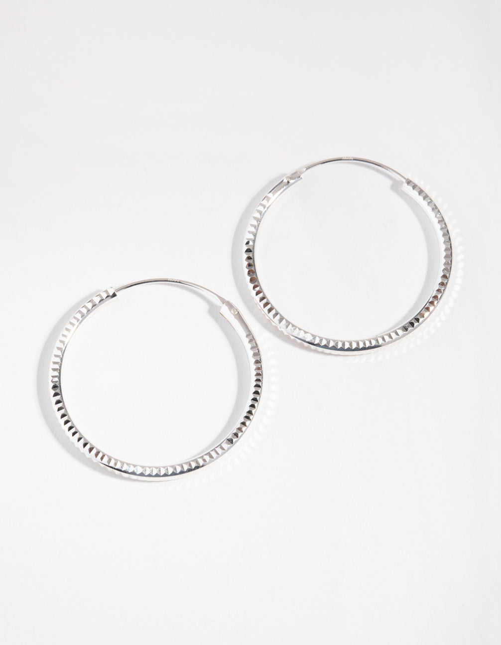 Sterling Silver 30mm Diamond Cut Hoop Earrings