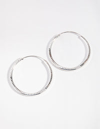 Sterling Silver 30mm Diamond Cut Hoop Earrings - link has visual effect only
