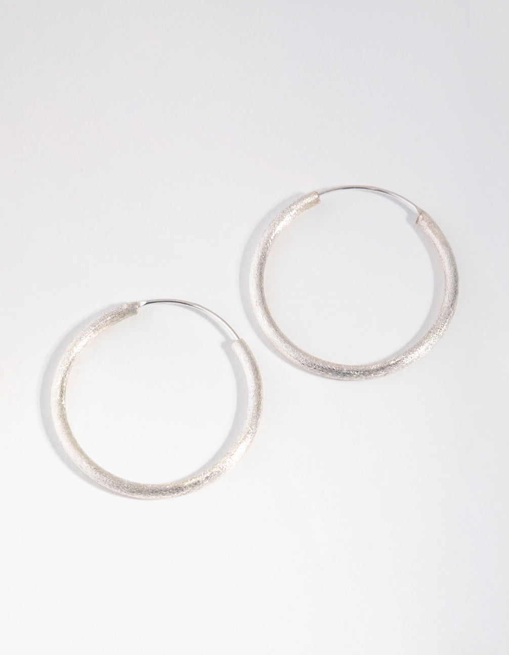 Sterling Silver 30mm Satin Hoop Earrings