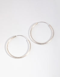 Sterling Silver 30mm Satin Hoop Earrings - link has visual effect only