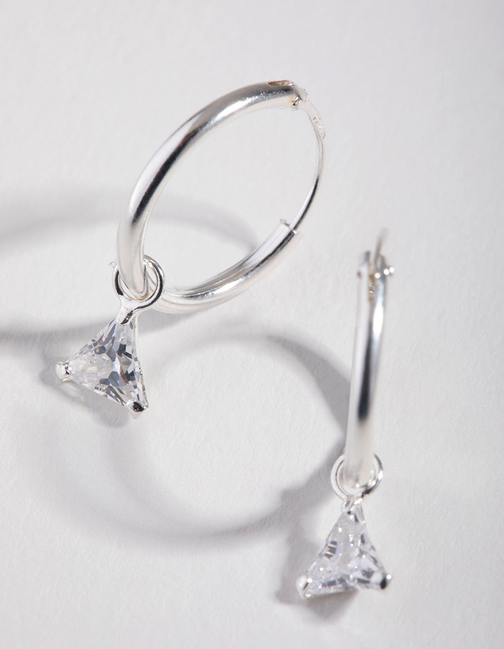Cubic Zirconia Triangle Dangle Hoop Earrings