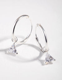 Cubic Zirconia Triangle Dangle Hoop Earrings - link has visual effect only