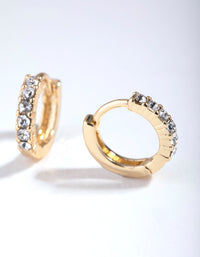 Gold Swarovski Crystal Huggie Earrings - link has visual effect only