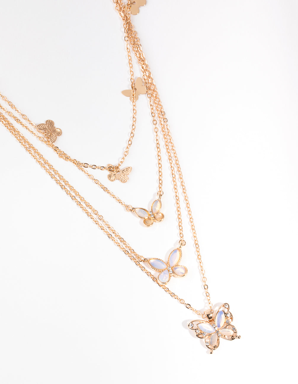 Gold Butterfly Four-Row Necklace