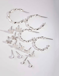 Silver Butterfly Mix Hoop Eight-Pack - link has visual effect only