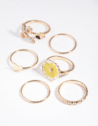 Gold Daisy Enamel Three Pack Rings - link has visual effect only