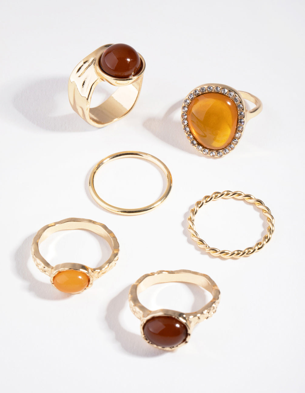 Gold Multi Stone Diamante 3-Pack Rings