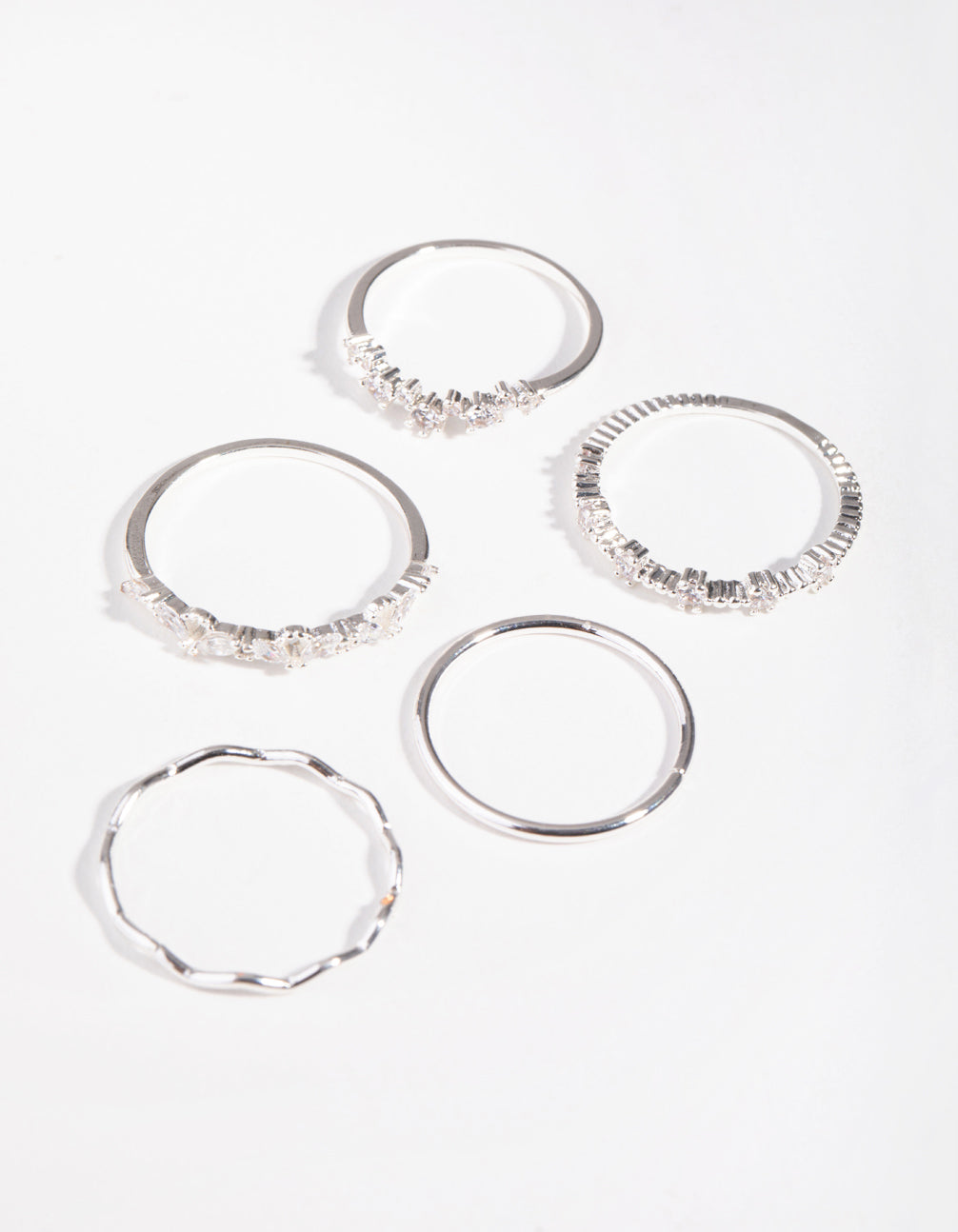 Silver Delicate Bands 5-Pack Rings