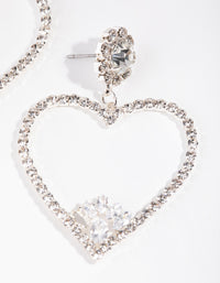 Silver Statement Diamante Heart Drop Earrings - link has visual effect only