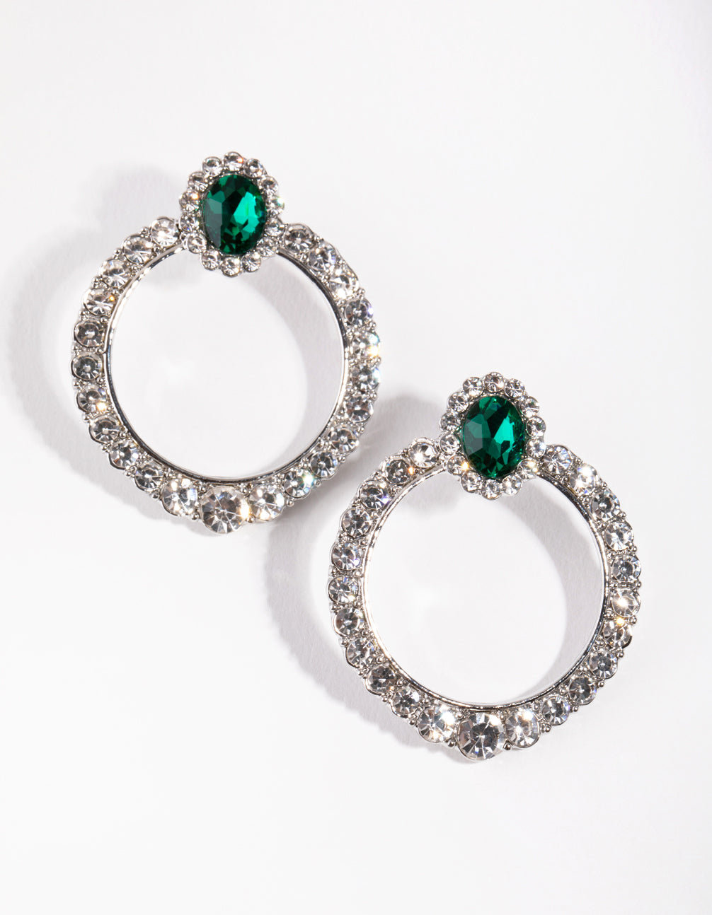 Rhodium Pave Disc Drop Earrings