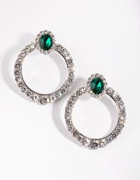Rhodium Pave Disc Drop Earrings - link has visual effect only