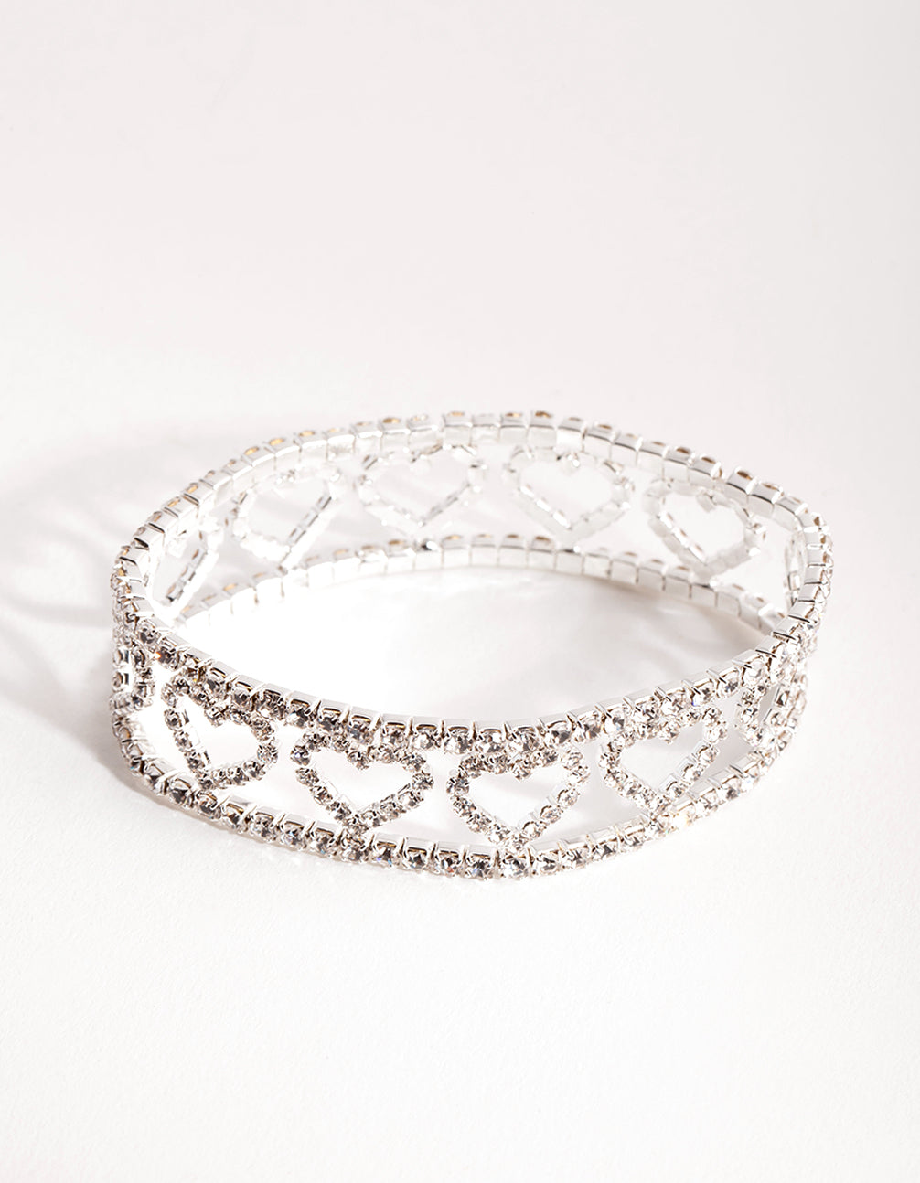 Silver Crystal Cut Out Heart Stretch Bracelet