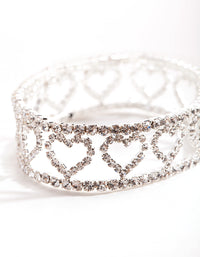 Silver Crystal Cut Out Heart Stretch Bracelet - link has visual effect only