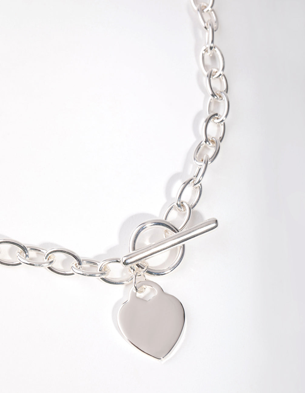 Silver Heart Charm Chain T&O Necklace