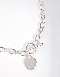 Silver Heart Charm Chain T&O Necklace - link has visual effect only