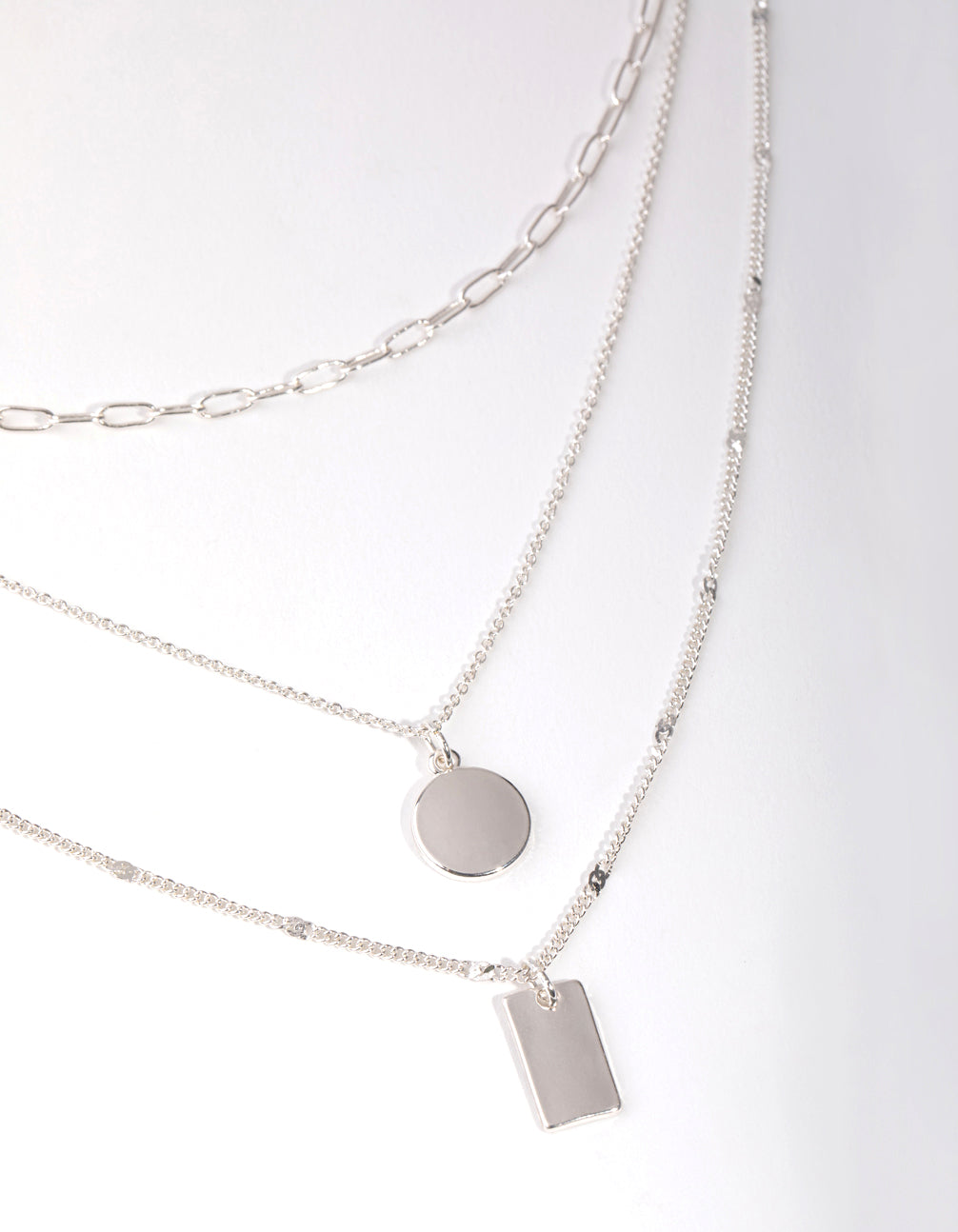 Silver Fine Tag and Coin 3-Row Necklace