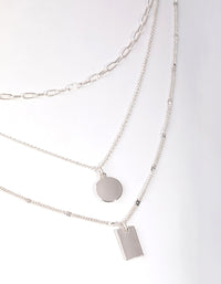 Silver Fine Tag and Coin 3-Row Necklace - link has visual effect only