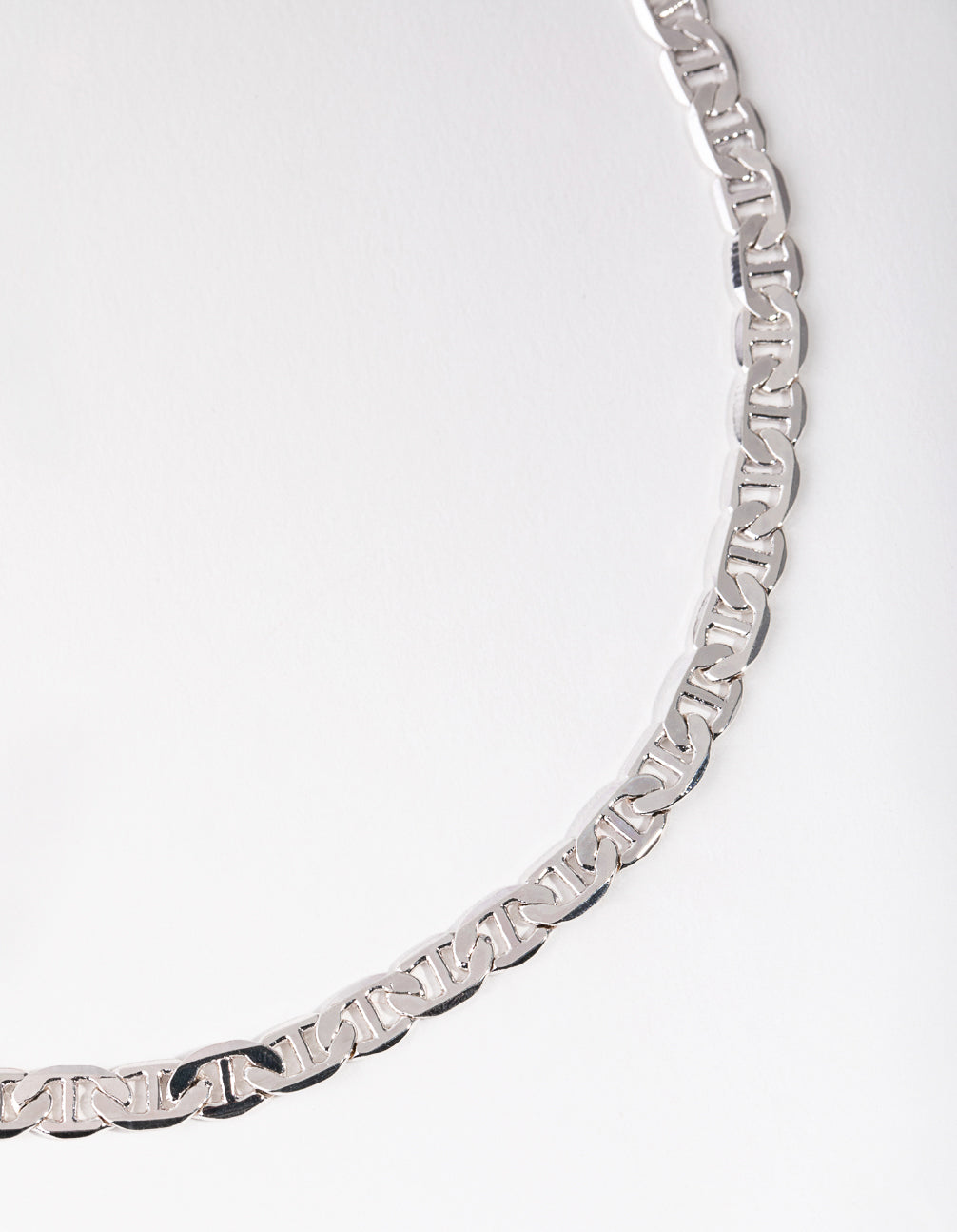 Silver Flat Mariner Chain Necklace