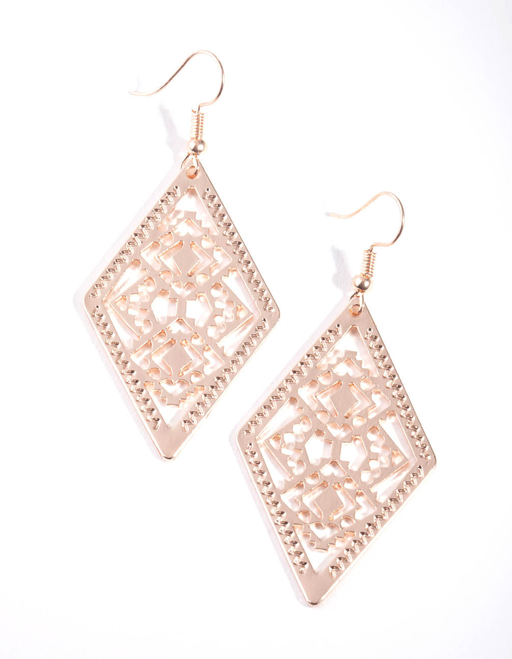 Rose Gold Diamond Shape Filigree Drop Earrings