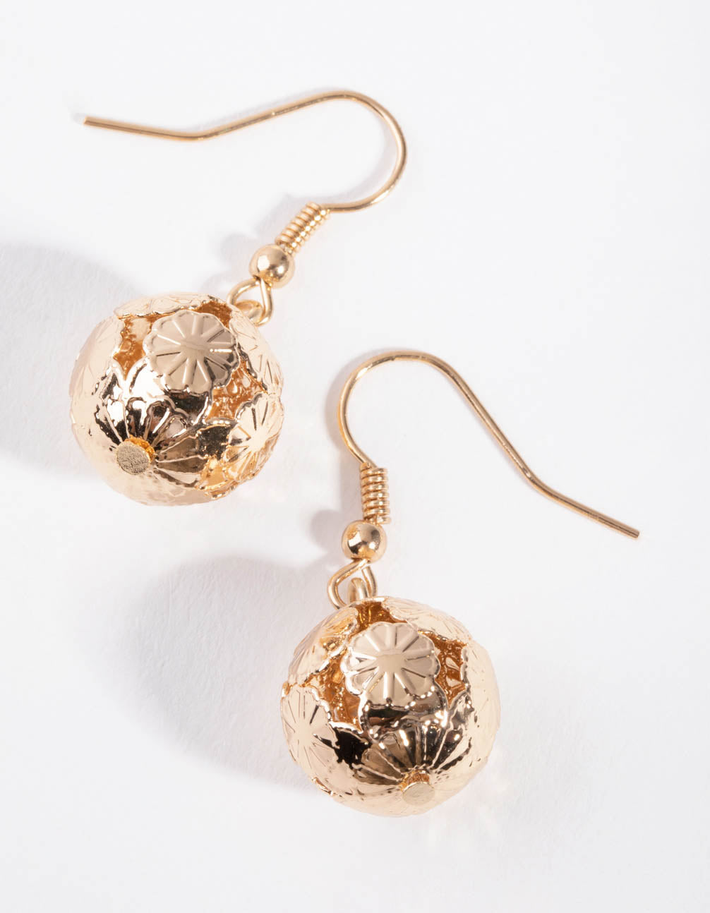 Gold Detailed Ball Drop Earrings